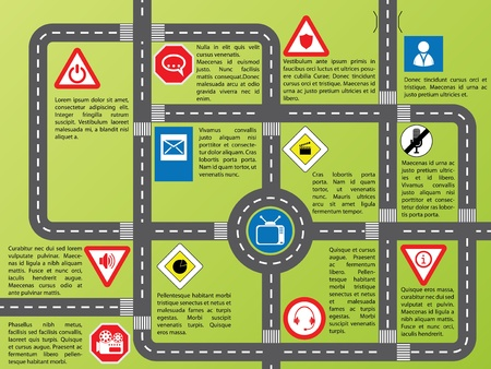 Cool info graphic with roads and stylish signs Vector