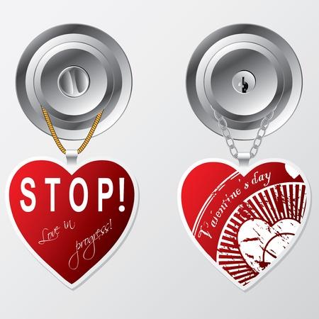 Heart shaped labels hanging on door knob Stock Vector - 12134488