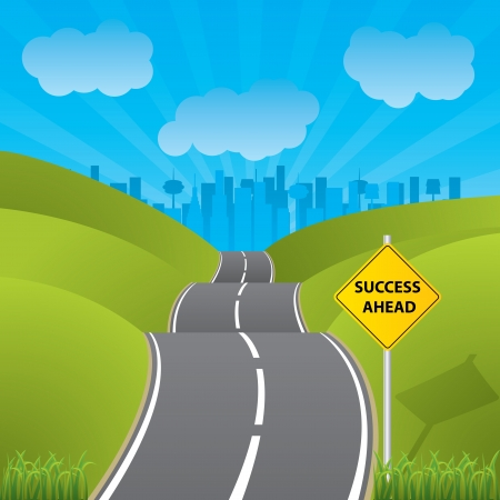 Road to success to a city with skyscrapers  Vector