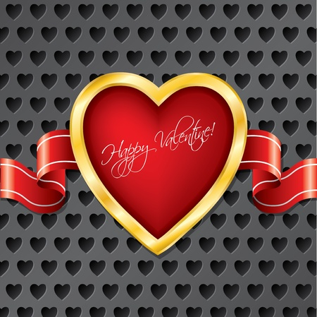 Valentine heart with ribbon on heart dotted backdrop Vector