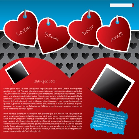 Website template design with heart background and hanging heart labels Vector