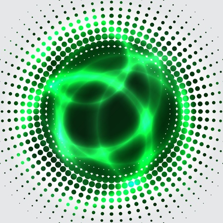 Abstract green plasma bagkground with halftone effect Vector