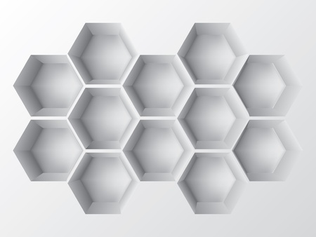 Abstract 3d decoration shelf on white wall Vector