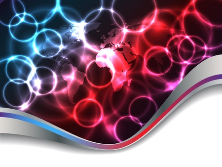 pulsation: Abstract plasma background design with world map