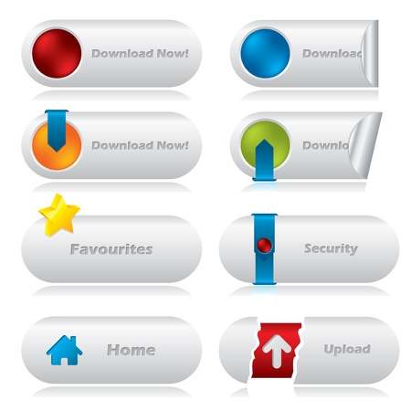 Cool download web buttons with various elements Stock Vector - 12134503