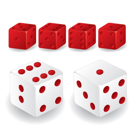 craps: Red and white dice set with different standings