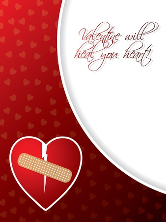wounded heart: Valentine greeting card design with broken heart