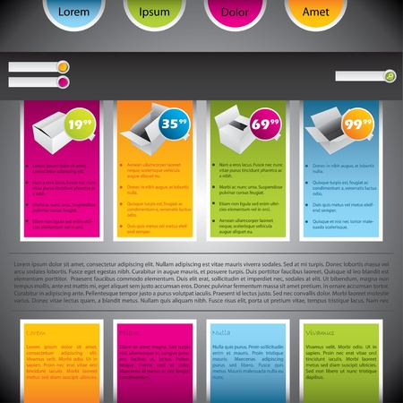 Colorful website template design with boxes and description Vector