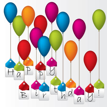 Happy birthday label set hanging on color balloons Illustration