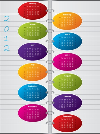 Cool new notebook like calendar design for 2012  Vector