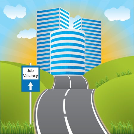 information highway: Road with sign showing job vacancy ahead Illustration