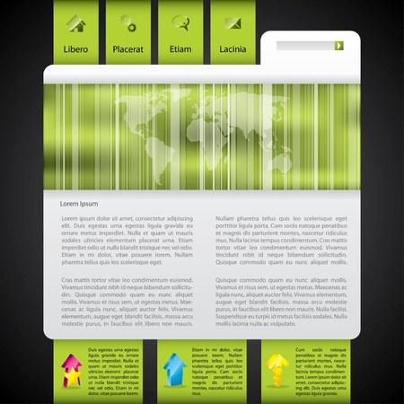 webpages: Website template design in green with striped world map