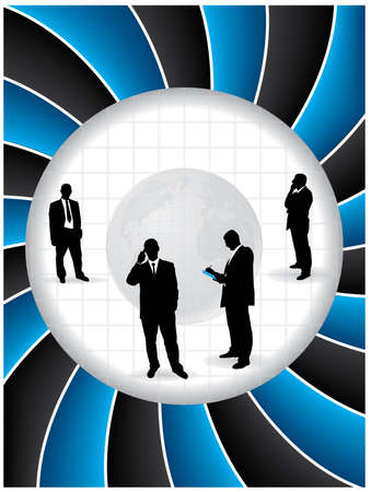 Twirling business background design with globe and business people Vector