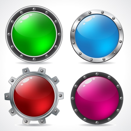 Cool new technology button design set with shadows Vector