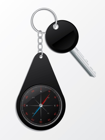 keyring: Key with black compass keyholder on metallic chain Illustration