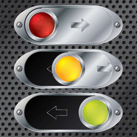chrome metal: Sliding buttons with fingerprints on color leds
