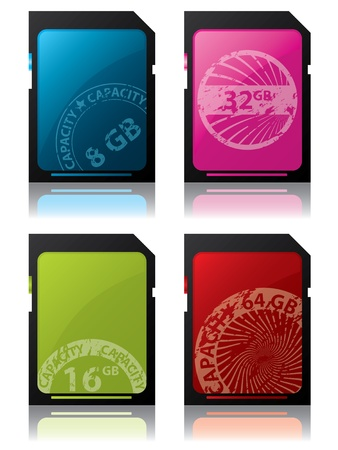 Sd cards with colored grunge seal labels Vector