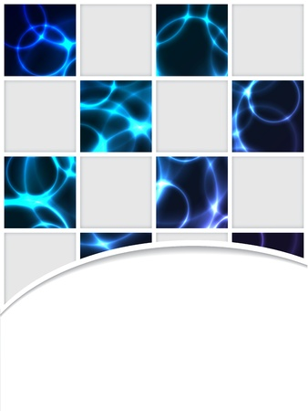 smooth curve design: Checkered brocure design with blue plasma effect