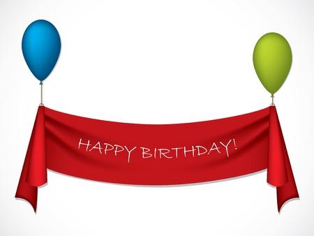 globos de cumpleaños: Cinta cumpleaños feliz colgando de globos