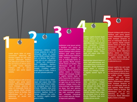 Colorful hanging label set with numbers from 1 to 5 Vector
