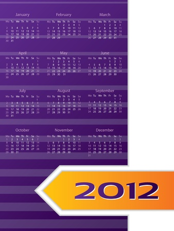 Abstract 2012 calendar design with striped background Vector