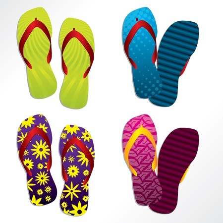 Various colorful flip flop designs for the summer Vector