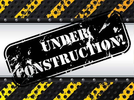 Under construction stamp with screws and dotted grunge background Stock Vector - 13239211