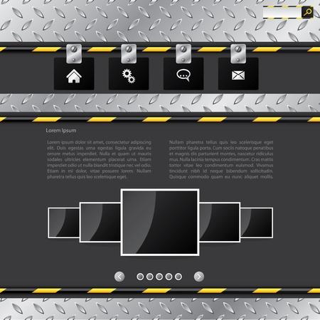 Industrial website template design with metallic elements Vector