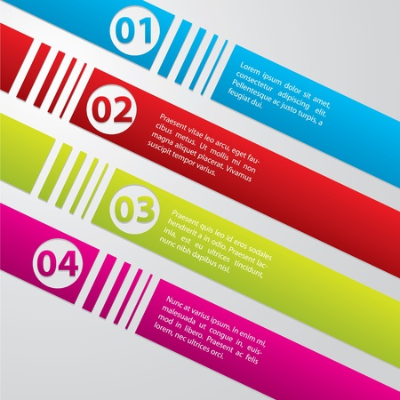 Striped commercial label set in different colors