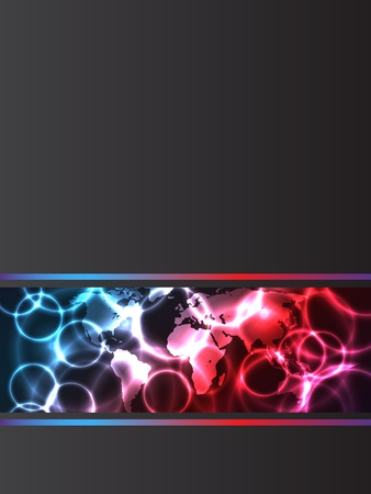 Abstract company brochure with plasma effects and map Vector