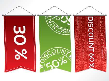 Hanging flag-like label set with various discounts Stock Vector - 13557113