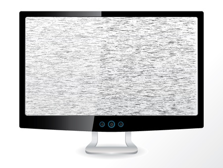 LCD tv/monitor with no signal on white background Illustration