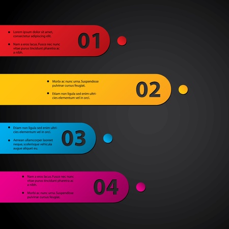 Color labels with grades on dark background