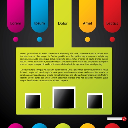 Colorful website template with label elemets and photos