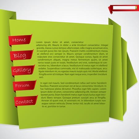 web header: Sitio web de Origami plantilla de dise�o con fondo blanco Vectores