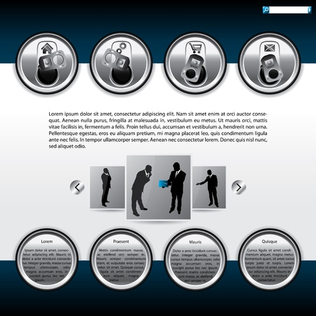 web site design template: Website template design with beer can top elements Illustration