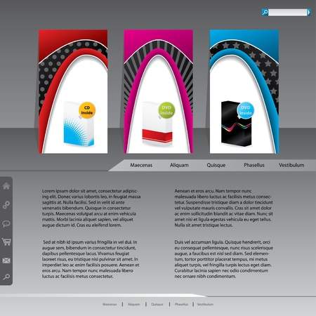 Website template with product labels for advertising Vector