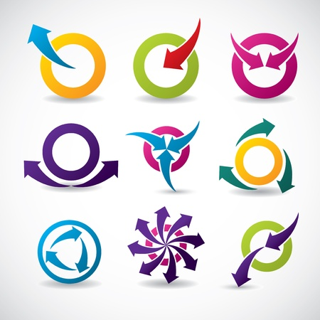 circle arrow: Abstract icon set with arrows and circles Illustration
