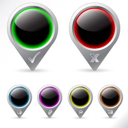 Vaus GPS icons in different color schemes Stock Vector - 13787863