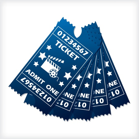 Five blue ticket set spreaded on white background Illustration