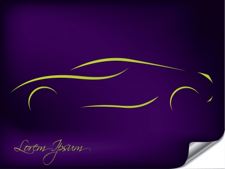 Abstract car silhouette design on purple background