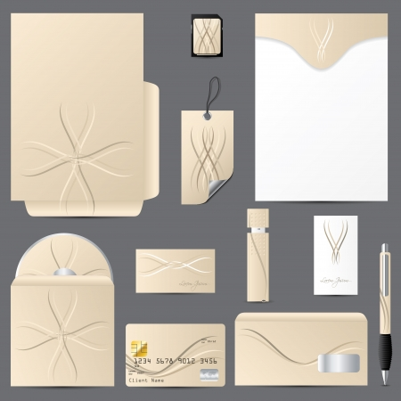 Business vector set with wave design and light brown color Vector