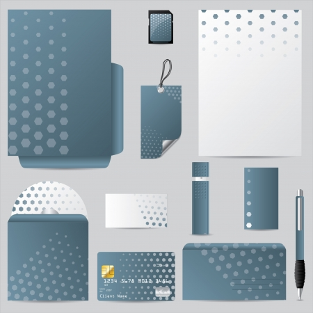 Business vector set with hexagon design and pale blue color Vector