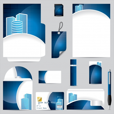 Business vector set with cool blue color Vector