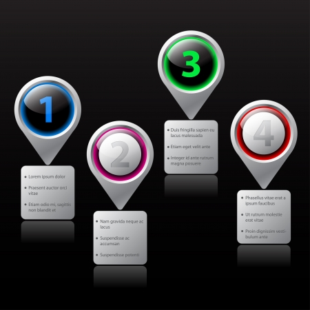 gradation: Website option elements with gradation and description Illustration