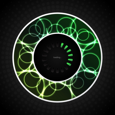 progressbar: Loading progress with abstract green plasma background Illustration