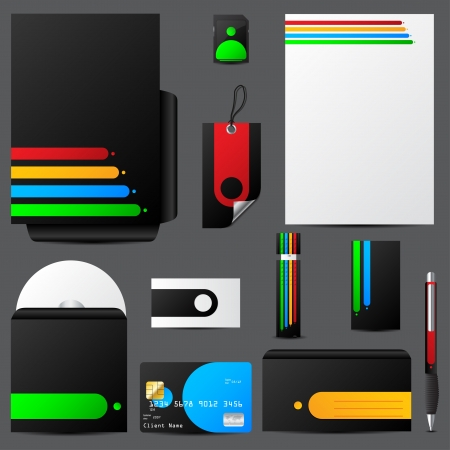 stationary set: Colorful stationary set with cool vivid colors