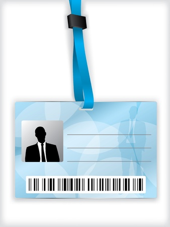 Blue business identification with barcode and lanyard