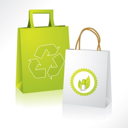 paper delivery person: Eco friendly paperbag with bio medical paperbag Illustration