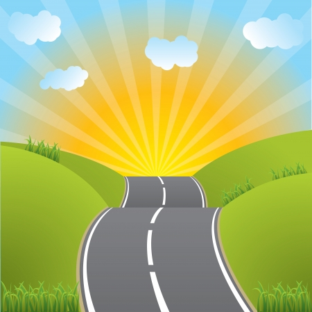 sunset clouds: Asphalt road heading to sunset through fields with grass Illustration